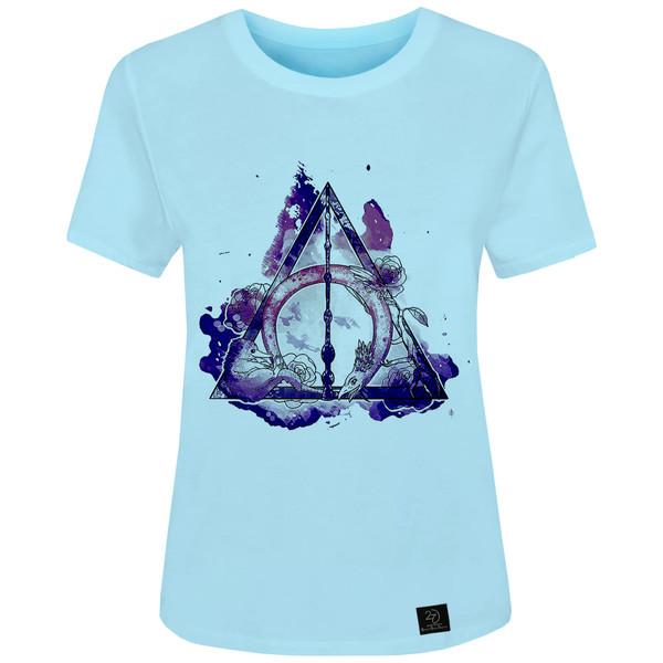 تی شرت آستین کوتاه زنانه 27 مدل هری پاتر  کدH57 رنگ آبی