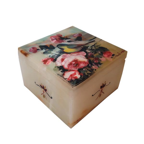 جعبه سنگ مرمر طرح گل و مرغ مدل EG0028
