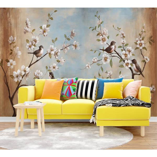 پوستر دیواری سه بعدی طرح گل و پرنده کد 13425712