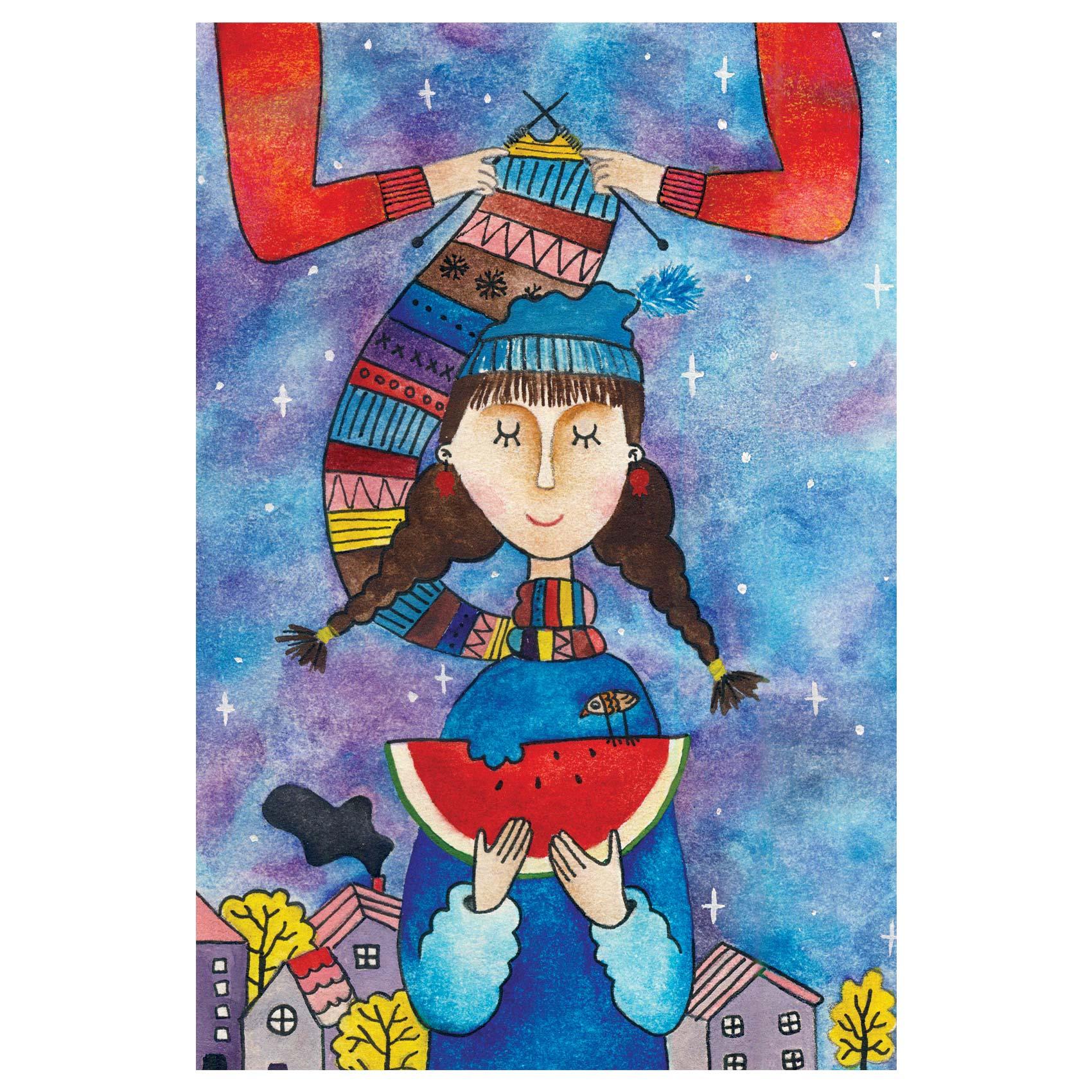 کارت پستال انتشارات سیبان مدل دخترک زمستانی