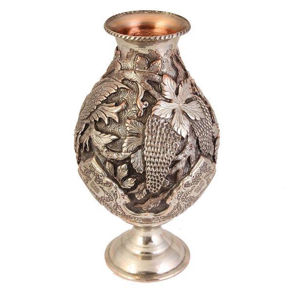 گلدان لالهای قلمزنی قهرمانی طرح تاک و پرنده کد 165001