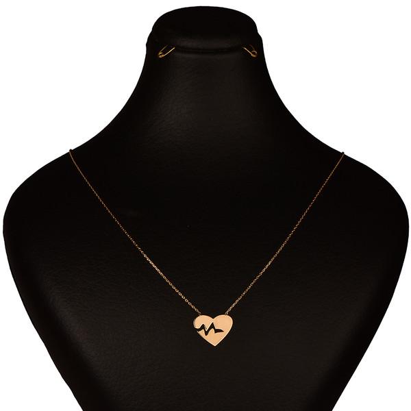گردنبند طلا 18 عیار زنانه کرابو طرح ضربان قلب مدل Kr7017