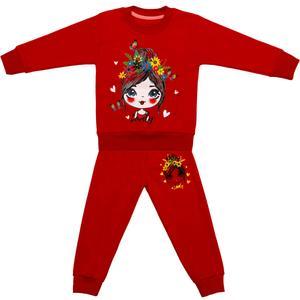 ست سویشرت و شلوار دخترانه مدل LOVELY کد 3 رنگ قرمز