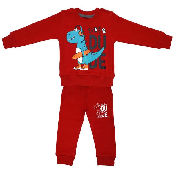 ست سویشرت و شلوار پسرانه طرح دایناسور اسکیت باز کد 3110 رنگ قرمز