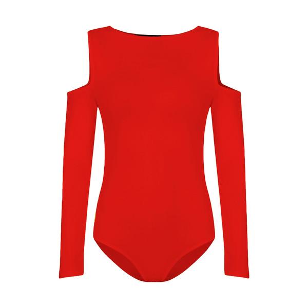 بادی آستین بلند زنانه افراتین کد 9535 رنگ قرمز