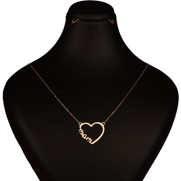 گردنبند طلا 18 عیار زنانه کرابو طرح قلب و مام مدل Kr7062