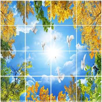 تایل سقفی طرح درخت پاییزی کد ST 1103-16 سایز 60x60 سانتی متر مجموعه 16عددی