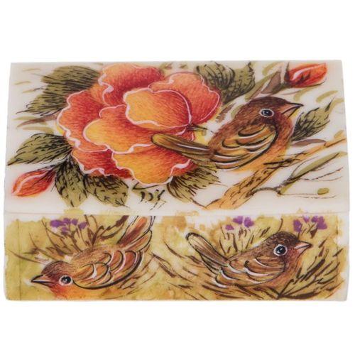 جعبه استخوانی اثر یزدانی مدل کبریتی طرح گل و مرغ