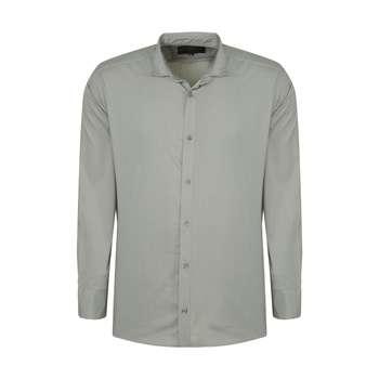 پیراهن آستین بلند مردانه مدل PVLF رنگ طوسی کم رنگ
