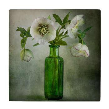 کاشی کارنیلا طرح گل و گلدان شیشه ای مدل لوحی کد WKB682
