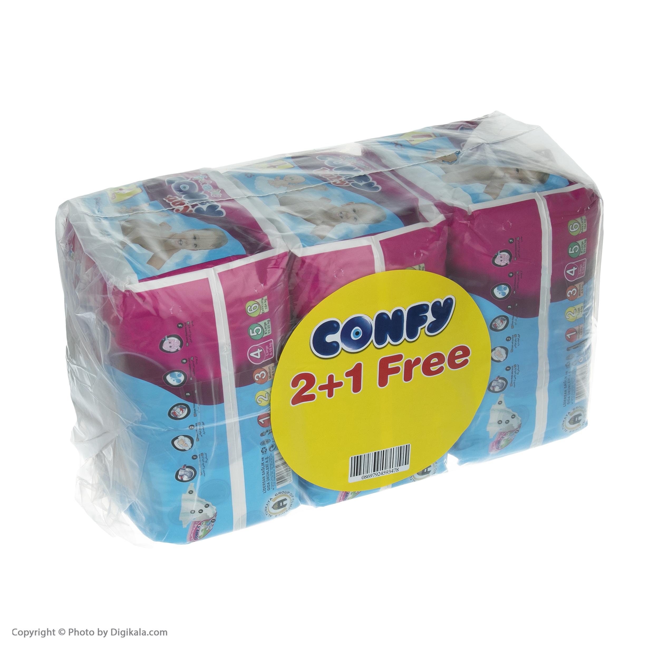 پوشک بچه کانفی کد 001 سایز 4 مجموعه 3 عددی