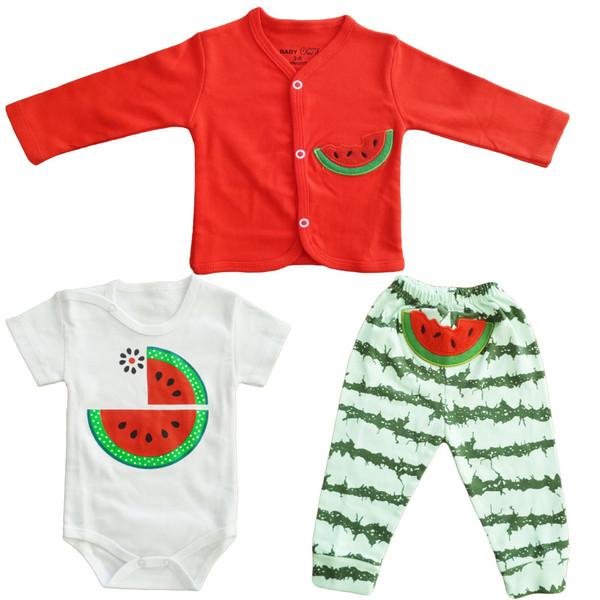 ست 3 تکه لباس نوزادی بی بی وان مدل هندوانه کد 120