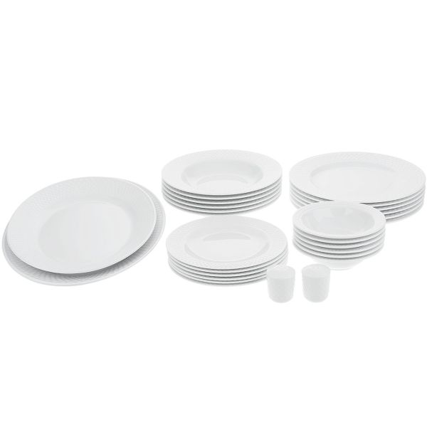 سرویس غذاخوری 28 پارچه چینی زرین ایران سری ایتالیا اف مدل White 2 درجه یک
