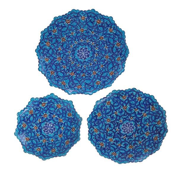 بشقاب مسی میناکاری شده اثر اسماعیلی طرح اسلیمی سری 3 عددی