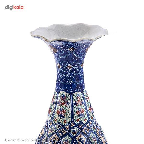 گلدان مسی میناکاری شده اثر شیرازی طرح 3 ارتفاع 16 سانتی متر