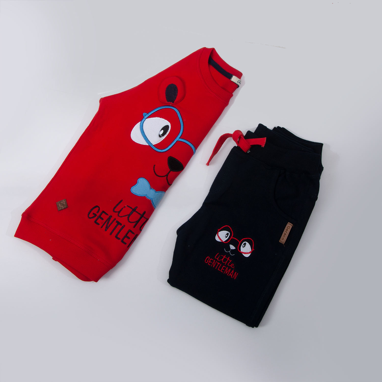 ست سویشرت و شلوار پسرانه طرح خرس عینکی کد 408 رنگ قرمز -  - 5