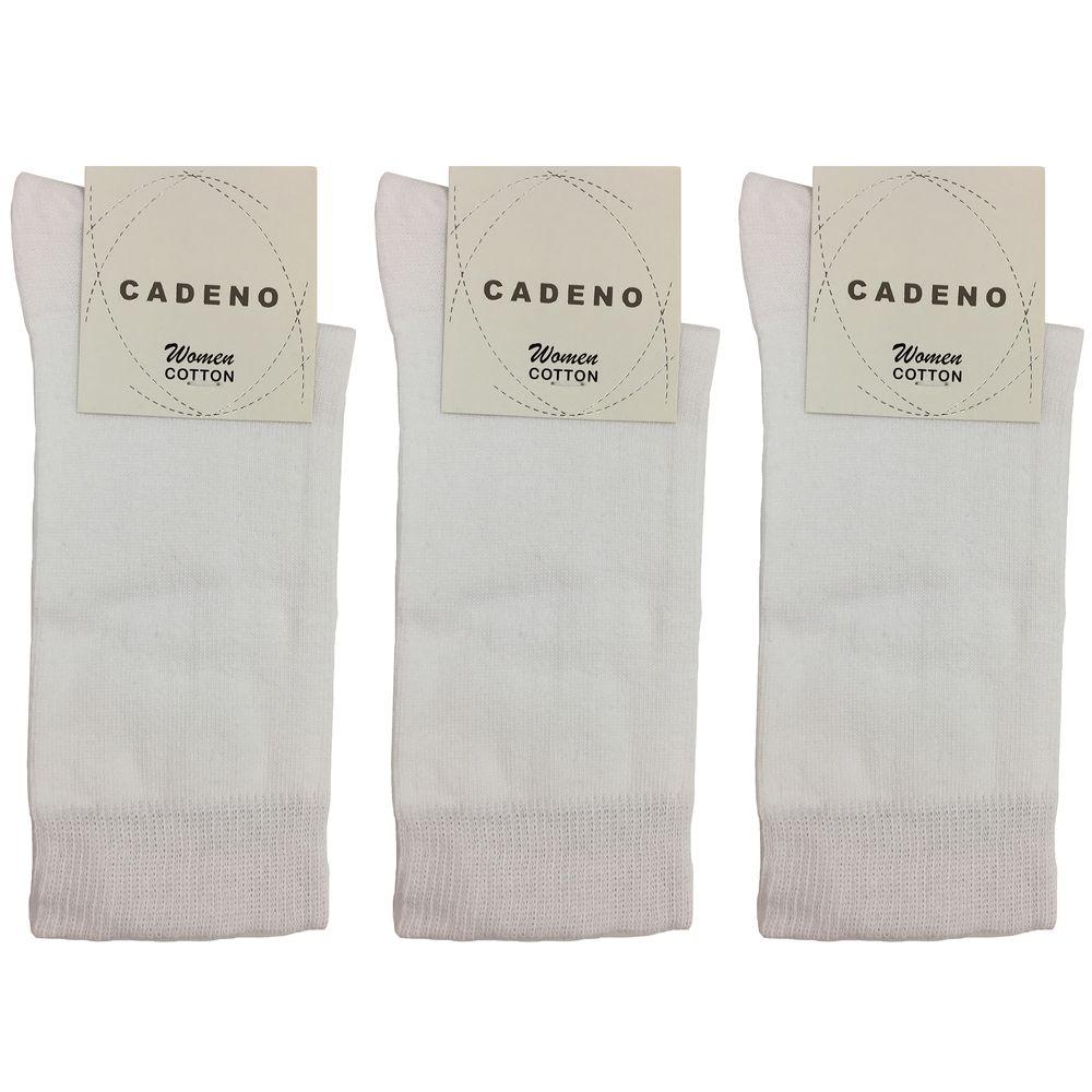 جوراب زنانه کادنو کد CAL1045 رنگ سفید بسته 3 عددی