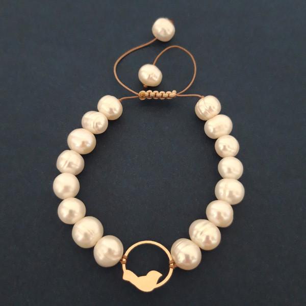 دستبند طلا 18 عیار زنانه الماسین آذر طرح کبوتر و دایره مدل KABU01