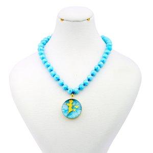 گردنبند طلا 24 عیار زنانه آلتین هنر طرح فرشته و دو قلب کد 5008
