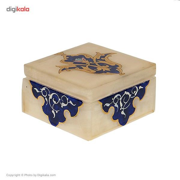 جعبه سنگ مرمر اثر بابایی طرح شمسه طلایی سایز 7 × 7 سانتی متر