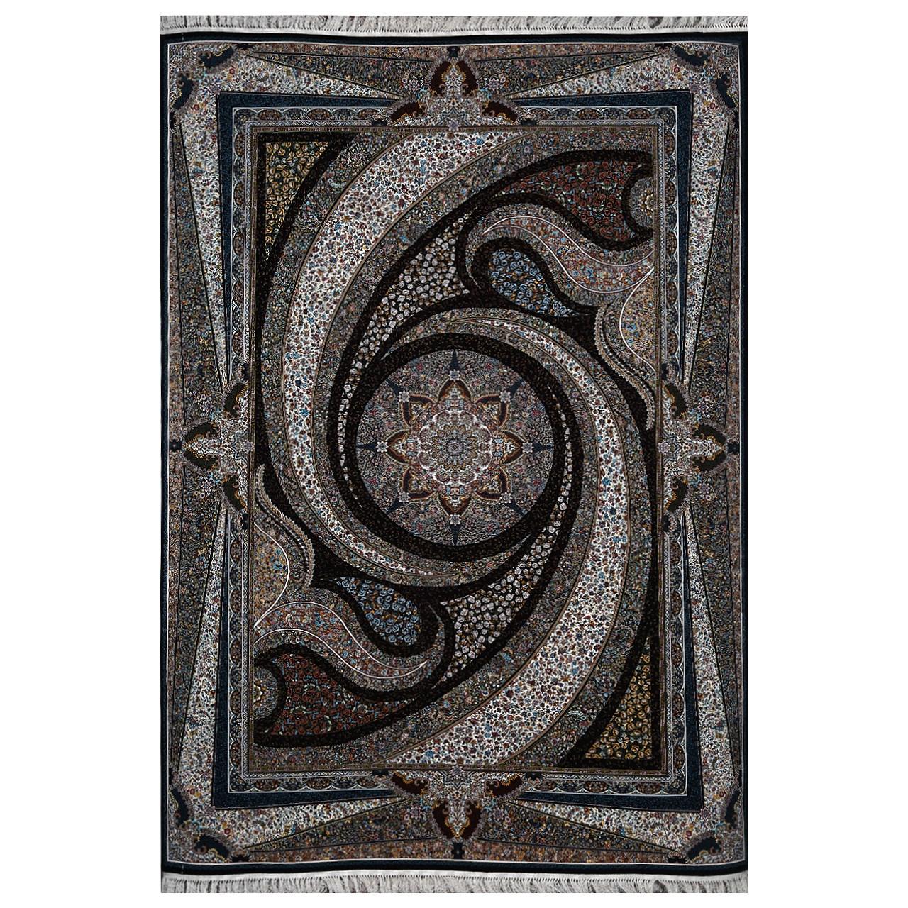 فرش ماشینی فرش هدیه طرح کهکشان زمینه سرمهای