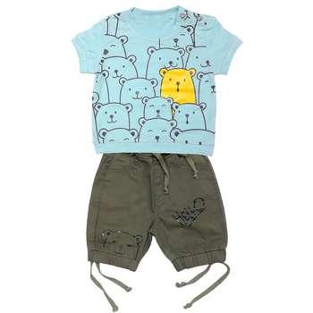 ست تی شرت و شلوارک پسرانه طرح خرس کد 3336 رنگ آبی
