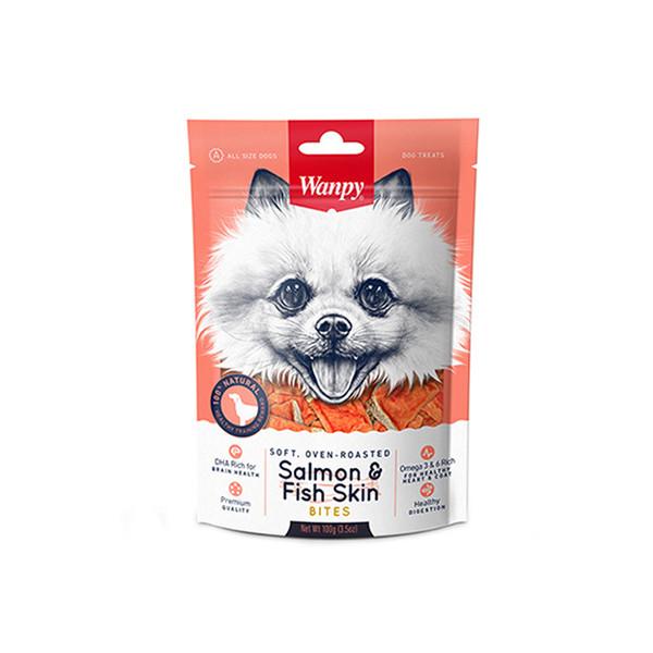 غذای تشویقی سگ ونپی مدل SALMON FISH SKIN BITES وزن 100 گرم