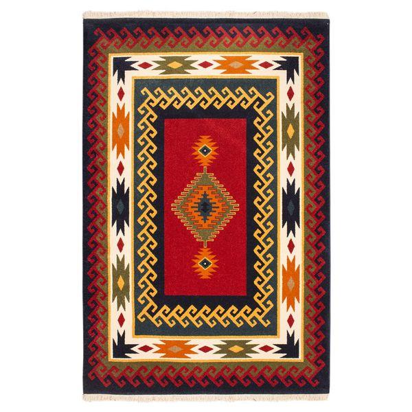 فرش ماشینی ساوین طرح پامچال زمینه سرمه ای کد FSM17