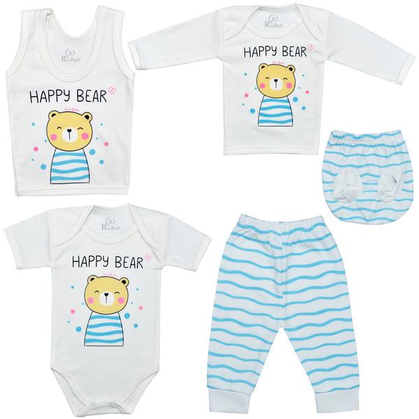 ست 5 تکه لباس نوزادی ریز بافت مدل خرس