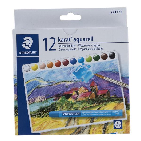 مداد شمعی آبرنگی 12 رنگ استدلر مدل Karat aquarell