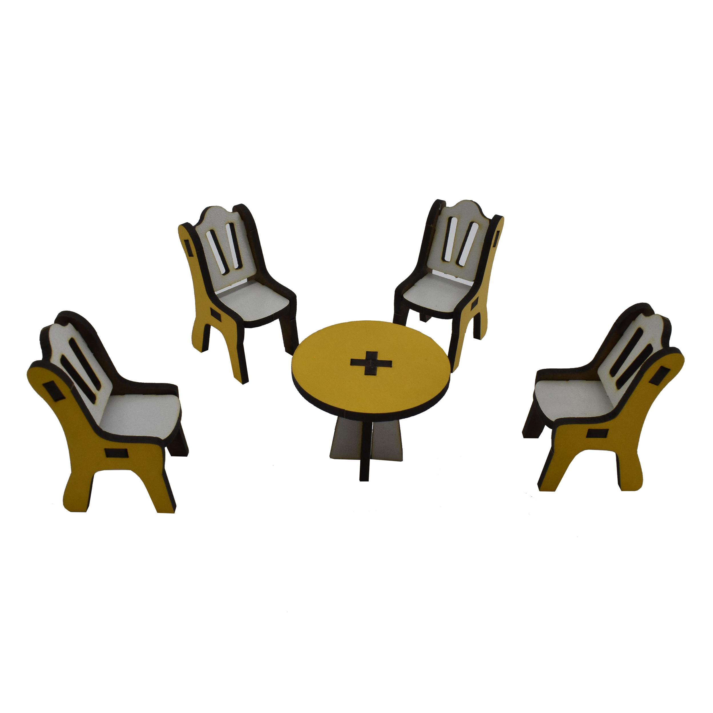ماکت دکوری طرح میز و صندلی کد01 مجموعه 5 عددی