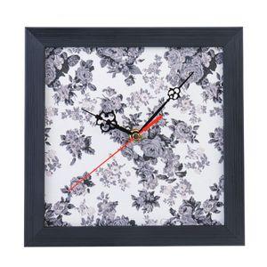 ساعت دیواری عقربه ای 20 × 20 طرح پارچه نقش 3 با قاب مشکی کد WEW 51 003