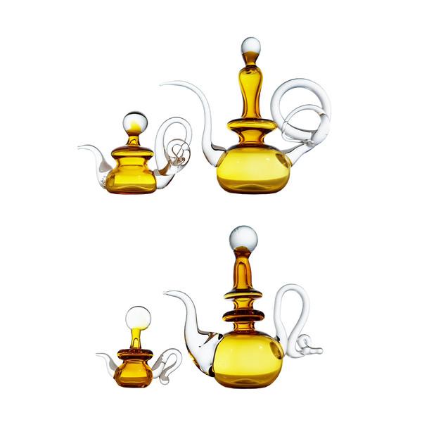 گلاب پاش شیشه ای طرح مینیاتوری مدل عسل کد 1066 مجموعه 4 عددی
