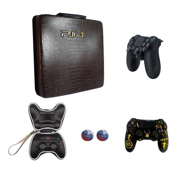 کیف حمل کنسول پلی استیشن ۴ کد 001 به همراه دسته بازی و  کیف دسته و محافظ دسته و روکش آنالوگ