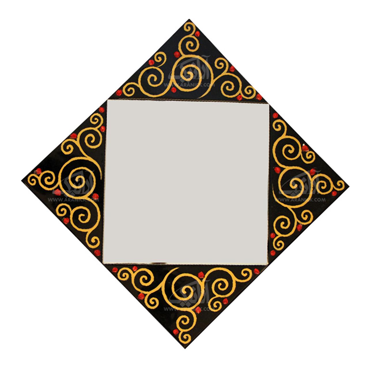 آینه همجوشی شیشه    رنگ مشکی طرح پیچک  مدل 1509800005