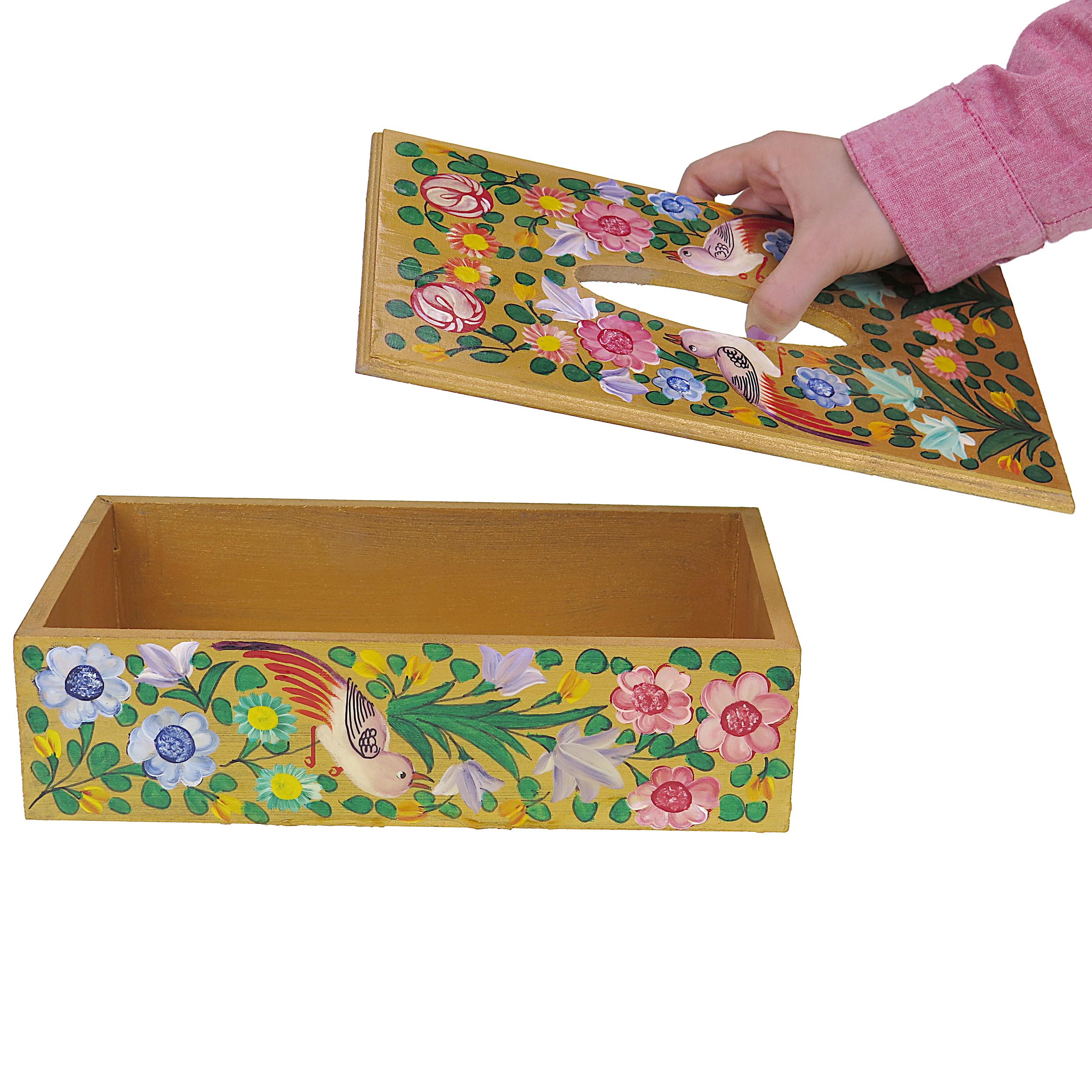 خرید                      جعبه دستمال کاغذی چوبی طرح گل و مرغ مدل srmd04