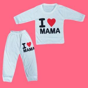 ست تی شرت و شلوار نوزادی مدل I love mama