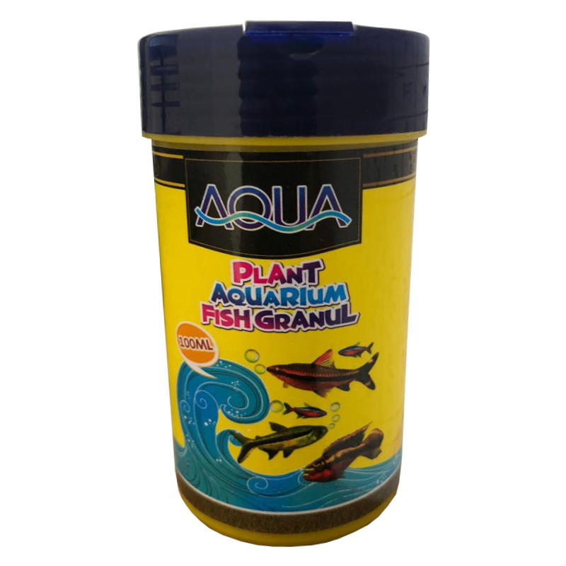 غذای ماهی آکواریوم آکوا مدل plant-granul حجم 100 میلی لیتر
