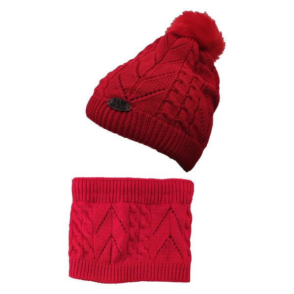 ست کلاه و شال گردن بچگانه سام کد 151-1P رنگ قرمز