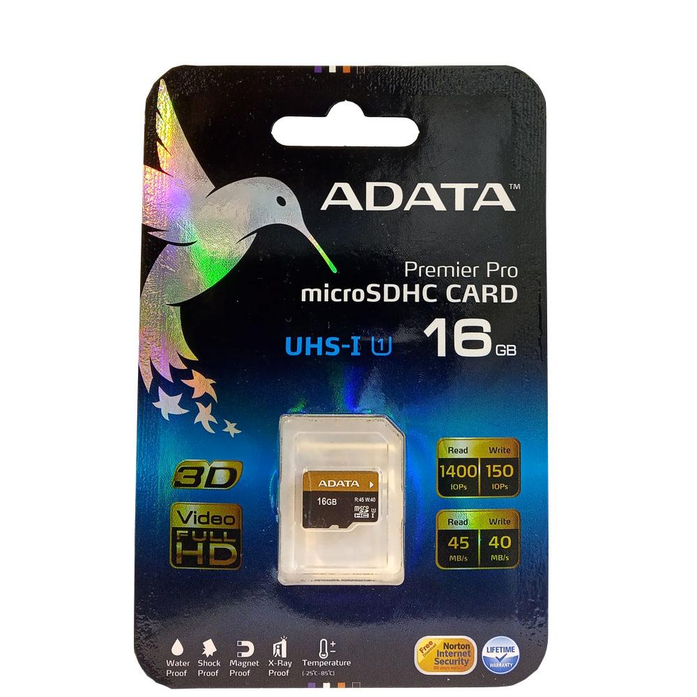 کارت حافظه microSDHC ای دیتا مدل Premier Pro کلاس 10 استاندارد UHS-I U1 سرعت 45MBps ظرفیت 16 گیگابایت