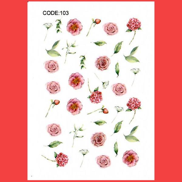 استیکر طراحی ناخن مدل گل رز صورتی کد 103