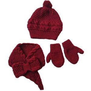 ست کلاه و شال گردن و دستکش بافتنی دخترانه مدل ghr000626