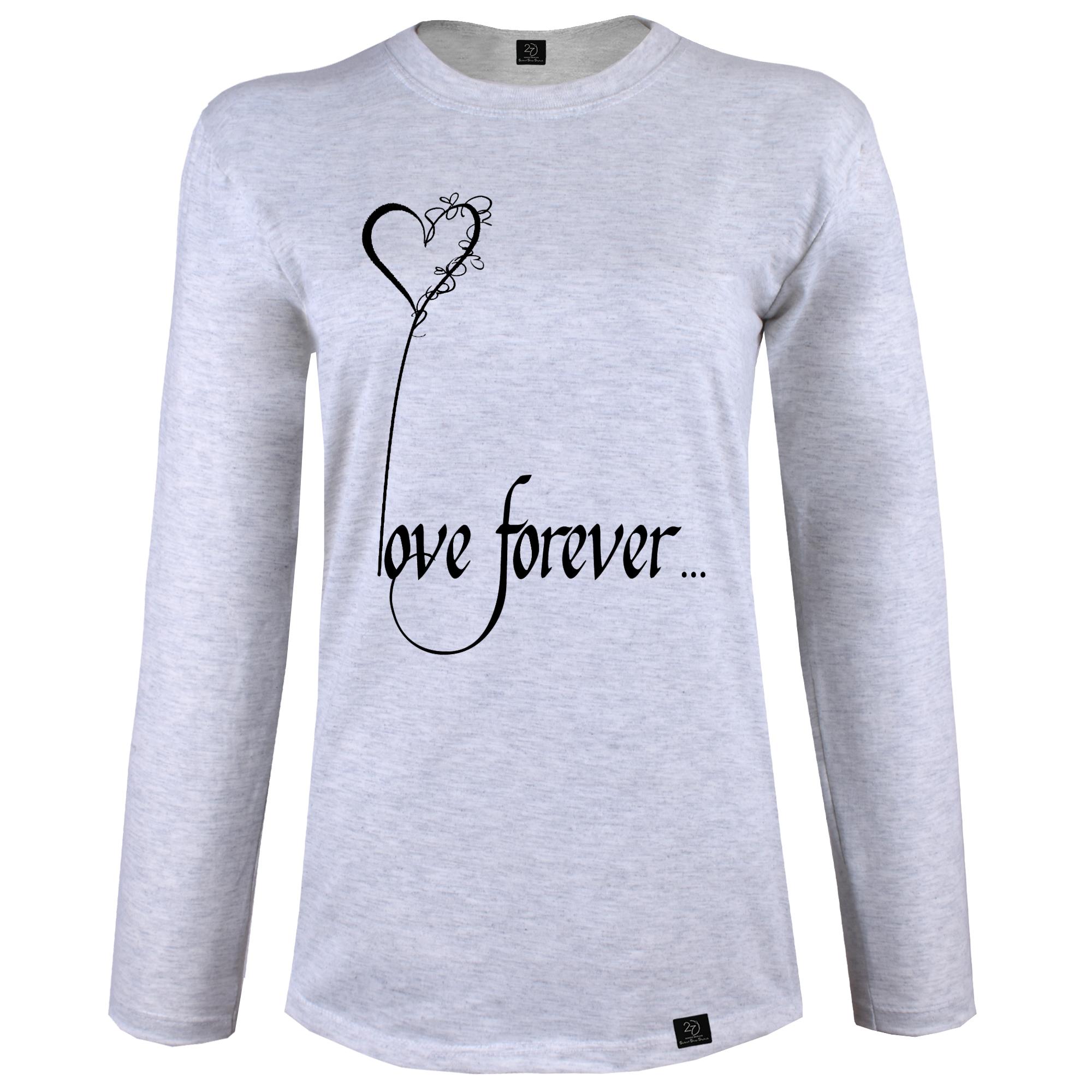تی شرت آستین بلند زنانه 27 طرح LOVE FOREVER کد J09 رنگ طوسی روشن
