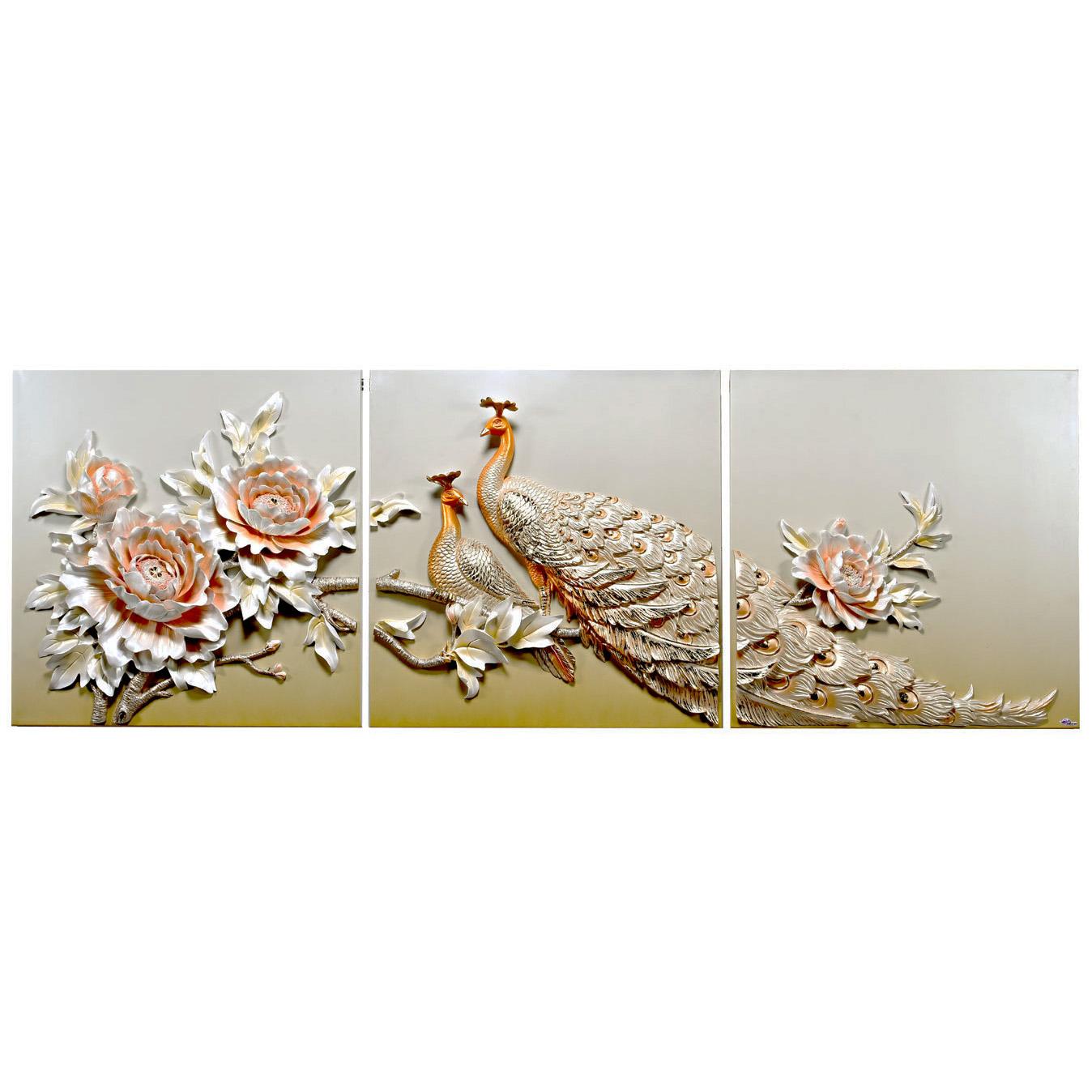 تابلو سه تکه دکوراد مدل طاووس و گل