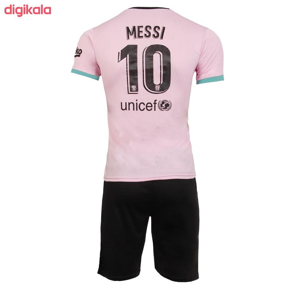 ست تیشرت و شورت ورزشی پسرانه طرح بارسلونا مدل مسی کد 2021 main 1 1