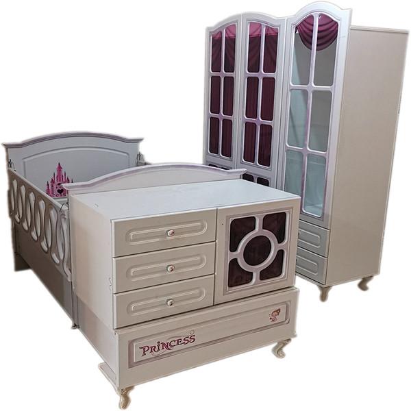 سرویس تخت و کمد کودک و نوزاد مدل پرنسس کد 1019