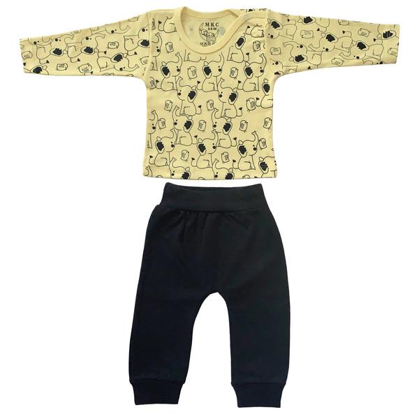 ست تی شرت و شلوار نوزادی طرح فیل کد FF-085