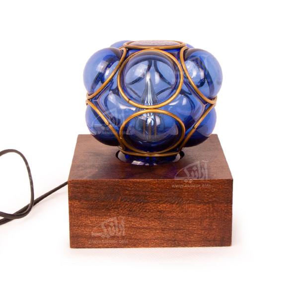 آباژور چوبی آرانیک آبی طرح حباب شیشه ای مدل 2217200007