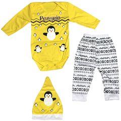 ست سه تکه لباس نوزادی مدل پنگوئن کد 2518