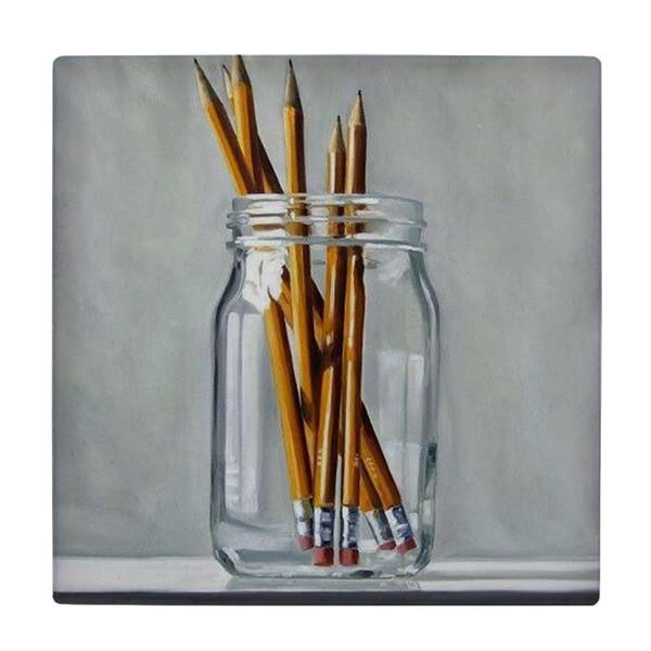کاشی طرح  نقاشی قلمو ها در ظرف شیشه ای کد wk4324